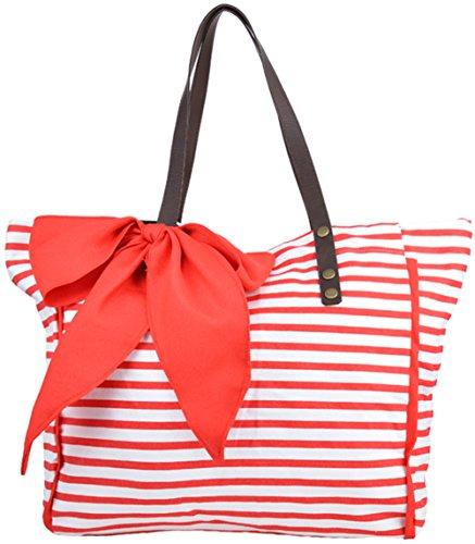 Damen Tasche Streifen Sailor Bow Schleifen Shopper Rot