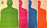 Son of A Gun Paper Shooting Targets, HIGH Shot Placement Visibility, Life Size B-27 Silhouettes, Four Color Combo Package, 25 Each-100 Total Count, GET More Bang for Your Buck! OGPC