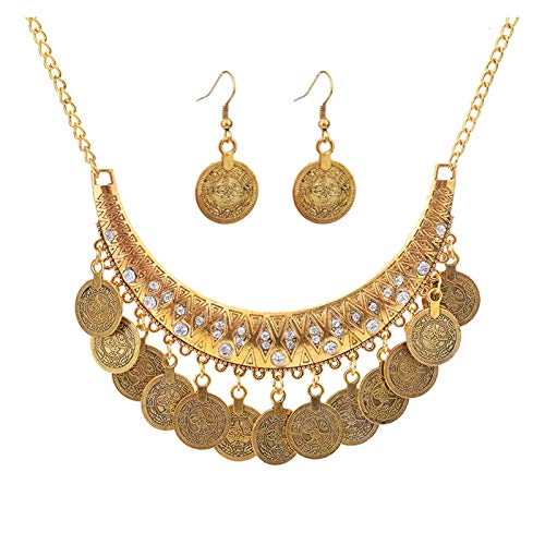 LPZW Hand carved Chic Gold-color fashion women necklace Vintage Gypsy Trendy Unique Jewelry Set (Metal color : Antique Gold Plated)