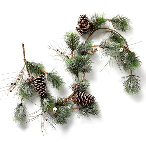 LOHASBEE Artificial Christmas Garland, 5 Feet Pine Cone Garland with Snow, Red Berries, Bells for Christmas Indoor Outdoor Garden Gate Home Decor