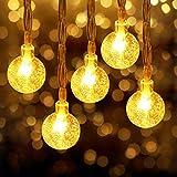 イルミネーションライト LED フェアリーライト 水晶球ライトは 6M 40LED 電池式 LEDストリングライト ハロウィーンライト クリスマスライト 点滅ライト 防水 クリスマスツリー飾り クリスマス ハロウィン パーティー 正月 誕生日 新年 花火会 祝日 結婚式 家装飾や、庭、ホテル、バー 室外室内庭対応- ウォームホワイト