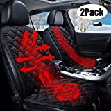 Seametal - Cuscino riscaldante per sedile auto, 12 V, universale, regolabile, 2 pezzi, colore nero