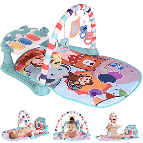 Baby Play Gym Activity Mat, Baby Piano Playmat with Light and Sounds,Large, Thick, Breathable Baby Care Jungle Gym,Play Mats for Infants Tummy Time, Infant Gym Toys for 0 Month + Boys,Girls (Blue)