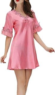 WSPLYSPJY Women's Nightgown Satin Lace Short Sleeve Lounge Dress Sleepwears