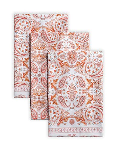 Maison d' Hermine Orient 100% Cotton Set of 3 Multi-Purpose Kitchen Towel Soft Absorbent Dish Towels   Tea Towels   Bar Towels   Thanksgiving/Christmas (20 Inch by 27.50 Inch)
