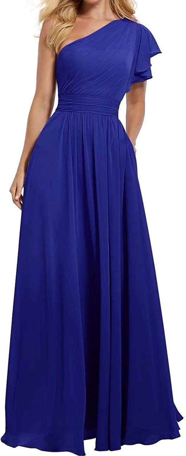TTdamai One Shoulder Bridesmaid Dress for Women Long Evening Party Gown Maxi Wedding Guest