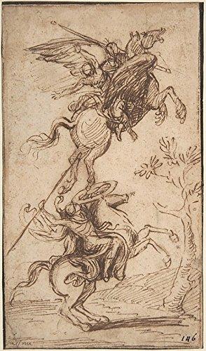Nicolas Poussin – The Sorcerer Atlante Abducting Pinabellos Lady (Ariosto Orlando Furioso canto II 38) Kunstdruck (45,72 x 60,96 cm)
