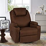 YODOLLA Massage Recliner Chair Heated Rocker Recliner Living Room Chair Home Theater Lounge Seat with Cup Holder, Dark...