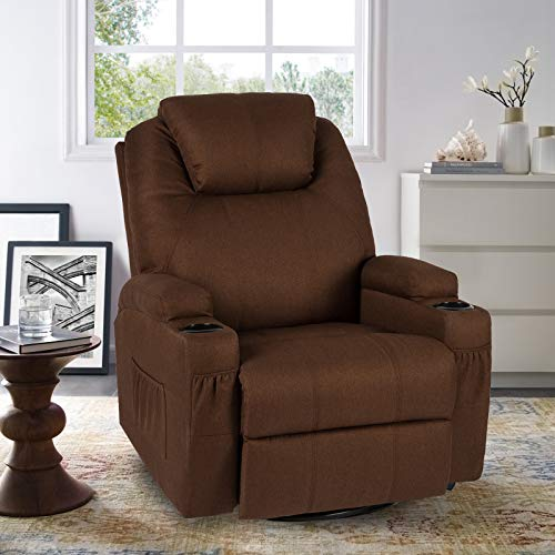 YODOLLA Massage Recliner Chair Heated Rocker Recliner Living Room Chair Home Theater Lounge Seat with Cup Holder, Dark Brown