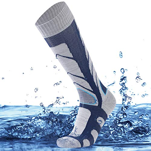 SuMade Knee High Waterproof Hiking Socks, Men Women Tall Long Cushioned Moisture Wicking Breathable Athletic Golf Sand Volleyball Wading Running Trekking Neoprene Socks 1 Pair (Blue, Medium)