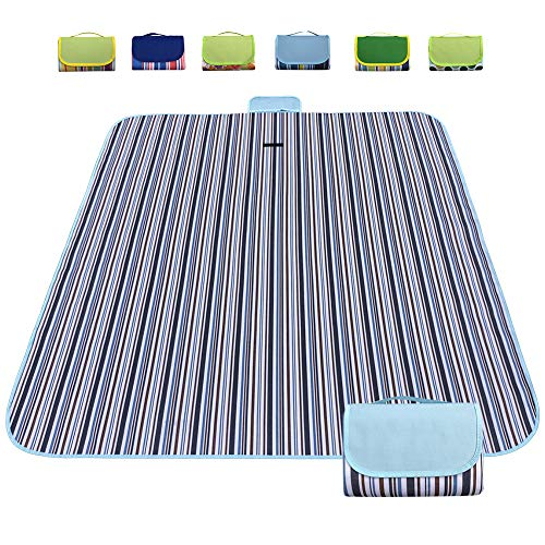 Large Picnic Blanket Mat | Beach Blanket | Outdoor Accessory for Handy Waterproof Stadium Mat | Outdoor Picnics | Camping on Grass (Blue Gray)