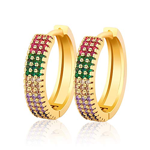 OUCHUANG CZ Huggie Hoop Stud Earrings for Women Gift with Initial Jewelry, 14K Gold Plated, Multi-Color