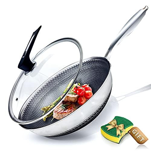 Sartenes antiadherentes del wok del panal de la inducción del wok del acero inoxidable