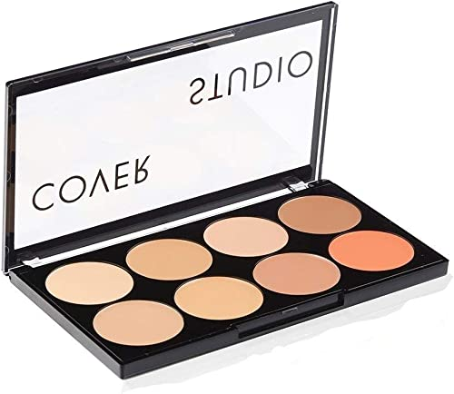 Swiss Beauty Oil and Wax Free Cover Studio Ultra Base Concealer Palette, 16g(Set of 8 Colours)