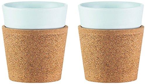 Bodum Bistro Tassen- Set 2 Stück, Porzellan, Kork/weiß, 7.4 cm, 2-Einheiten