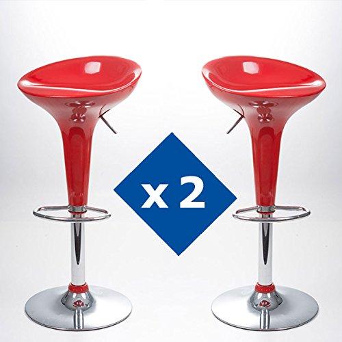 Innova Pack 2 TABURETES ALBI Rojo con Sistema DE ELEVACIÓN A Gas Y REPOSAPIÉS (43,5 * 40 * 66/88 CM)