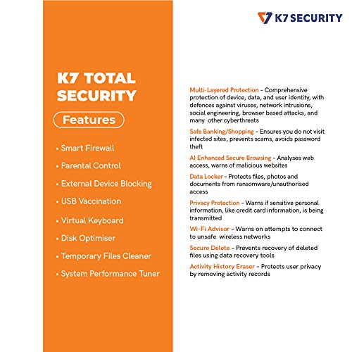 K7 Total Security - 1 PC's, 1 Year (Email Delivery in 2 hours - No CD) 2