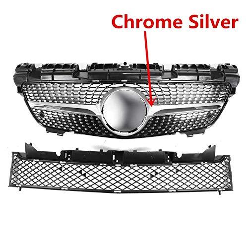 Liu xinling Hohe Qualität R172 Diamant Stil Auto Front Grill Für Mercedes Für Benz SLK Klasse R172 200 250 350 2012-2016 Racing Grills,Silber