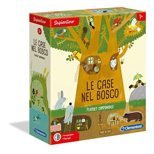 Clementoni - 16198 - Sapientino - Le Case nel bosco - tessere illustrate, puzzle incastro - gioco educativo 3 anni - materiale 100% riciclato - Play For Future - Made in Italy