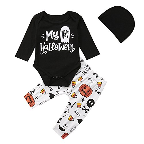 My 1st Halloween Clothes Newborn Baby Girl Boy Long Sleeve Romper Long Pants Set Kids Outfits (Multi, 70/0-6M)