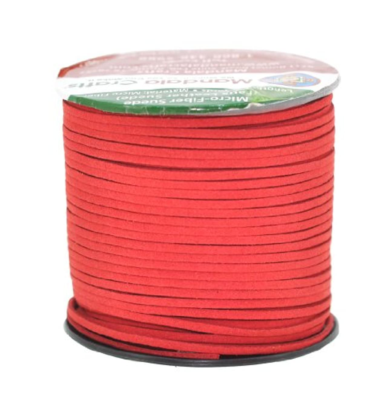 Mandala Crafts 100 Yards 2.65mm Wide Jewelry Making Flat Micro Fiber Lace Faux Suede Leather Cord (Red)