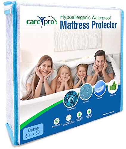 Care Pro Hypoallergenic Mattress Protector Smooth Breathable Fitted Fabric Style 100% Waterproof Dust Mite and Bed Bug Proof Queen