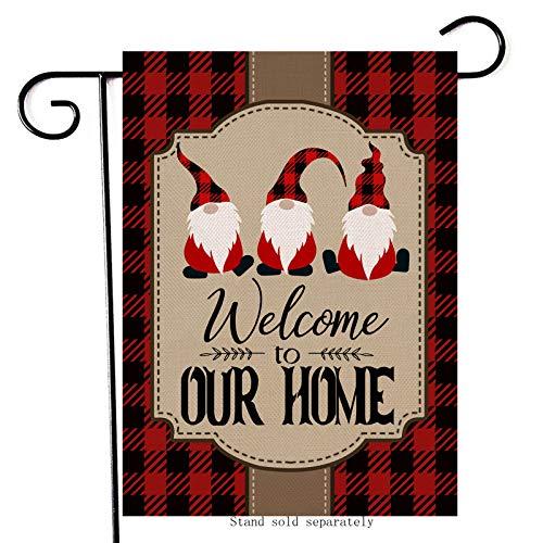 Artofy Welcome Home Christmas Decorative Small Garden Flag, Buffalo Plaid Check Gnomes House Yard Outside Xmas Black Red Decor, Winter Holiday Decoration Farmhouse Seasonal Outdoor Flag Vertical 12x18