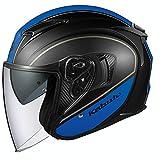 オージーケーカブト(OGK KABUTO)バイクヘルメット ジェット EXCEED DELIE(デリエ) フラットブラックブルー (サイズ:L) 577148