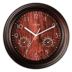 C PLUS Wall Clock Non Ticking Silent Battery Operated 12 Inch Quiet Sweep Quartz Movement Modern Home Decor Temperature with Hygrometer Large Numbers Easy to Read Round Indoor Retro Light