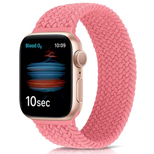 WNIPH Braided Elastic Watch Straps Compatible with Apple Watch 42mm 44mm, Woven Solo Loop Replacement Sport Watch Band for iWatch Series 6/5/4/3/2/1/SE (42mm/44mm:#6 (164mm-171mm wrist), Pink)