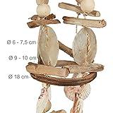 Relaxdays Windspiel mit Muscheln, maritimes Holz Klangspiel für Balkon, Garten-Deko, Capizmuschel Mobile, 107 cm, natur - 6