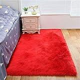 xiangju Piel de Oveja sintética cómoda como la Lana Real Cojín de Alfombra de sofá de Lana Artificial rojo-70x120cm