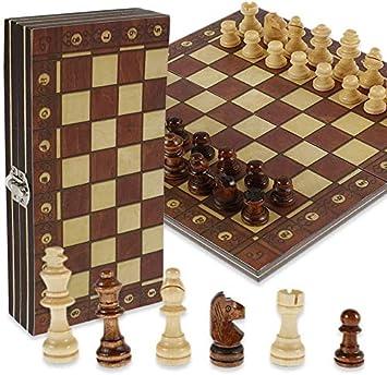 f/ür Kinder f/ür Kinder Reisen klein Schachspiel und Damen faltbar tragbar Schachspiel aus Holz 29 x 29 cm, magnetisch faltbar Schachbrett