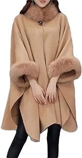 neveraway Women's Poncho Coat Fall Winter Mid Long Thickened Fur Collar Overcoat
