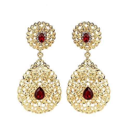 QIN Moda Marruecos Caftan Pendientes de Oro de la Boda roja Verde Negro Cristal Gota Pendientes de joyería de Novia árabe Regalo