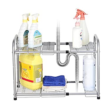 NEX 2-Tier Under Sink Shelf Organizer Under Sink Storage Rack, Flexible & Expandable