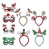 AMAZING1 Paquete de 8 vasos de Navidad marco y diademas creativas de fantasía de elfo de reno, cuernos de árbol de Navidad, set de regalo para niños, adultos, fiesta de Navidad