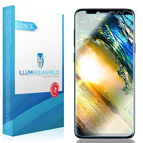 ILLUMI AquaShield Screen Protector Compatible with Samsung Galaxy S9 (2-Pack)(Compatible with Cases) No-Bubble High Definition Clear Flexible TPU Film