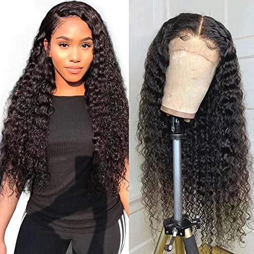 """VSHOW Glueless 4x4 Lace Closure Curly Lace Front Wigs Human Hair Water Wave (150% Density 20"""") Deep Wave Wet and Wavy Virgin Human Hair Wigs Pre Plucked Hairline with Baby Hair for Black Women"""