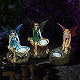 GloBrite - Confezione da 3 statuette da giardino con faretti solari per esterni...