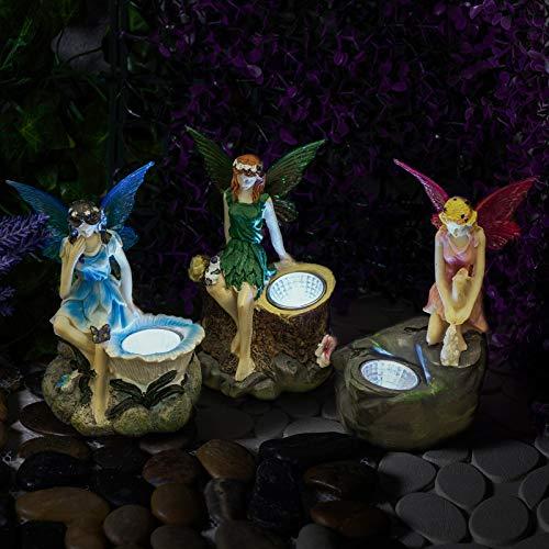 GloBrite Pack of 3 Fairy Garden Statues with Solar Spotlights Outdoor Novelty Garden Lighting LED Fairy Lights Solar Lights Outdoor Fairy Garden Ornaments