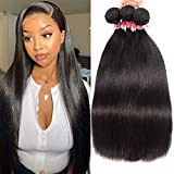 UNice 10A Peruvian Straight Hair 3 Bundles 18 20 22 inch 100% Virgin Unprocessed Human Hair Weave Extensions 100g/pc