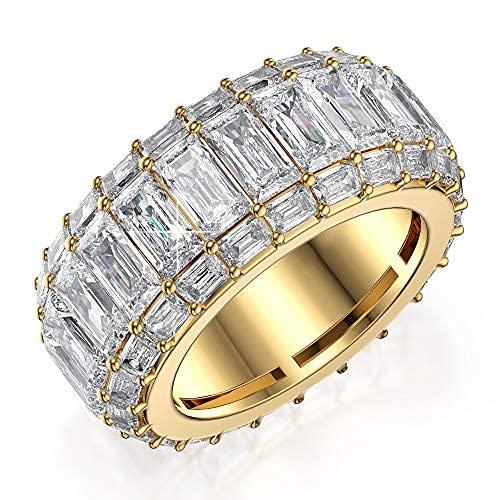 - Anillo de eternidad de corte esmeralda, chapado en oro amarillo y blanco de 14 quilates con diamante esmerilado de corte esmeralda