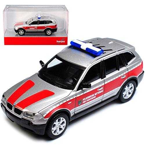 B-M-W X3 E83 Feuerwehr Nittenau 1. Generation 2003-2010 H0 1/87 Herpa Modell Auto mit individiuellem Wunschkennzeichen