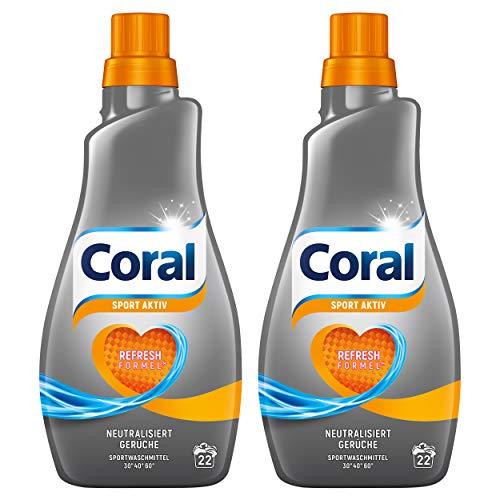 Coral Waschmittel flüssig für Sportkleidung – 44 Waschladungen hygienisch reine Wäsche, extra stark gegen Schweiß – Activ Flüssigwaschmittel ( 2 x 1,1 L)