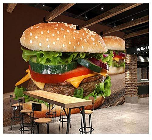 Muurschilderingen Home Decoration Ronde Brood Burger Voedsel Aangepaste 3D muurschildering PVC Verwijderbare zelfklevende Keuken Restaurant Achtergrond Muursticker 450(w)x300(H)cm