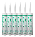 BioSeal Clear 100 Percent Silicone Sealant Caulk Kitchen and Bath Grade, Waterproof and No Mold/No Odor 10.1 Ounce Cartridge, Clear, (Pack of 6)