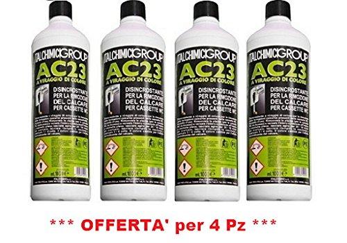Italchimici Group Disincrostante AC23 per Cassette WC Incasso Geberit e Cassette WC Esterne per la Rimozione del Calcare - 4 flaconi da 1 litro ciascuno