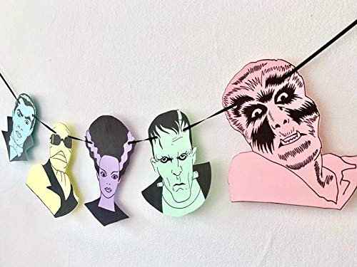 Classic Monster Mash Garland, Universal Monsters, Spooky Party, Halloween Decor, Pastel Goth, Vintage Horror, (XL)