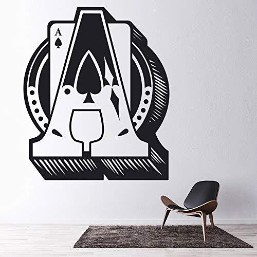 JXMK Spiel wandtattoo Wohnzimmer ace Spade Design kartenspiel Vinyl wandaufkleber Schlafzimmer Moderne Dekoration kunstwand 42x50 cm